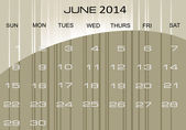Calendar June 2014 — Stock Vector