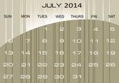 Calendário de julho de 2014 — Vetor de Stock