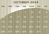 Calendar October 2014 — Stock Vector