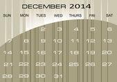 Takvim Aralık 2014 — Stok Vektör