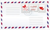 Postal envelope with hearts, mark and postmarked. — Stock Vector