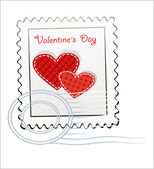 Valentine's Day-themed stamp — Stock Vector