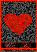 Red paper heart Valentines day card — Vettoriale Stock