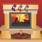 Christmas fireplace — Stock Vector #7912723