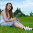 Stock Photo: Student with touchscreen tablet