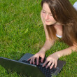 Young woman using a laptop — Stock Photo