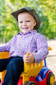 Happy little boy with his truck — Stockfoto