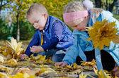 Szczęśliwe dzieci bawiące się w autumn odchodzi — Zdjęcie stockowe