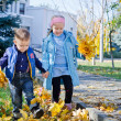 Children kicking autumn leaves - Stock Photo