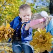 Little boy fascinated by crawling insect — Stock Photo #14050051