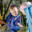 Young Children with Autumn Leaves — Stock Photo