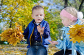 Young Children in Autumn Woodland — Stock Photo
