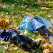 Royalty-Free Stock Photo: Children lying amogst autumn leaves