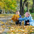 Stock Photo: Liitle girl showing her brother her leaves