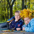 Children having fun with fall leaves — Stock Photo #14151329