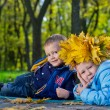 Affectionate little brother and sister — Stock Photo #14151394