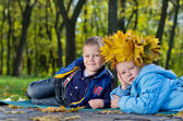 Children having fun with fall leaves — Stock Photo
