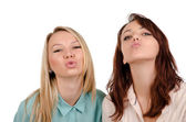 Two sexy girls begging for a kiss — Stock Photo