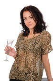Party girl holding a champagne flute — Stock Photo