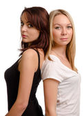 Two shapely young women friends — Stock Photo