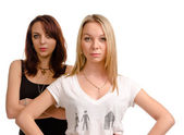 Two serious youg female friends — Stock Photo