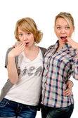 Girlfriends mocking — Stock Photo