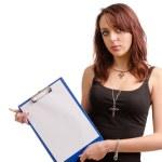 étudiante moderne avec un presse-papier blanc — Photo