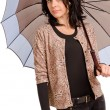 Stylish woman with an umbrella - Stock Photo