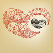 Red heart spiral — Stock Vector
