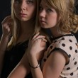 Two attractive scared women — Stock Photo