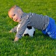 Small boy playing soccer — Stock Photo