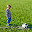 Постер, плакат: Little boy about to kick a soccer ball