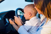 Small boy learning to drive — Stock Photo