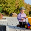 Little boy playing with his truck — Stock Photo