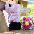 Little boy with a bouquet of flowers — Foto Stock