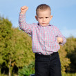 Triumphant little boy — Stock Photo