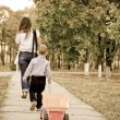 Small boy following Mum with a truck — Stock Photo #21990769
