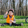 Pointing up kid — Stock Photo #24716935