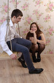 Happy young couple chatting together — Stock Photo