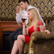 Couple and wine — Stock Photo