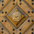 Wooden panel texture with pattern and studs — Stock Photo #26456511