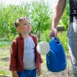 Stock Photo: Little boy helping to water garden