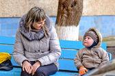 Beautiful toddler in winter woollies — Stock Photo