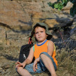 Educated little boy during a hiking expedition — Stock Photo