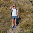 Backpacker standing on mountain park — Stock Photo #30990357