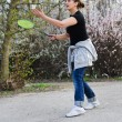 Stock Photo: Womplaying badminton