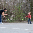 Mother and son playing badminton — Stock Photo