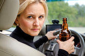 Aggressive drunk woman driver — Stock Photo