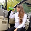 Woman alcoholic drinking while travelling — Stock Photo