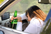 Drunk woman driver passed out in the car — Stock Photo